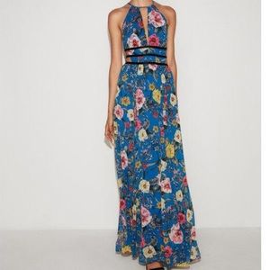 Express Floral Strappy Plunging Cut-out Maxi Dress